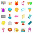 Creative fun icons set, cartoon style