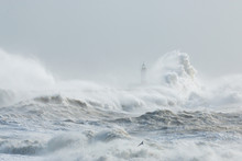Newhaven, Sussex, Stormy Seas ...