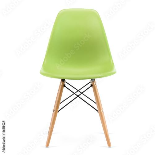 Plastic, modern design kitchen chair isolated on white background Fototapete