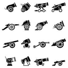 Cannon Retro Icons Set, Simple Style