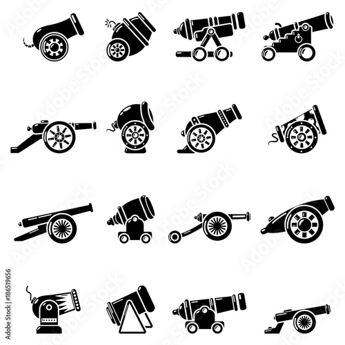 Photo Cannon retro icons set, simple style