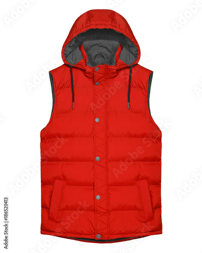 Cuadros en Lienzo Red sleeveless vest with hood isolated on white