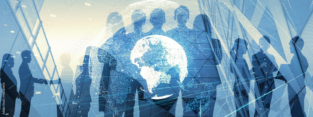 Fototapety, obrazy: Global business concept. Silhouette of business people.