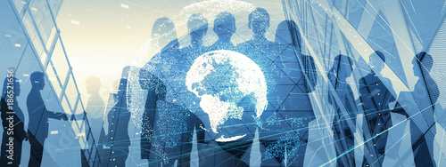Cuadros en Lienzo Global business concept. Silhouette of business people.