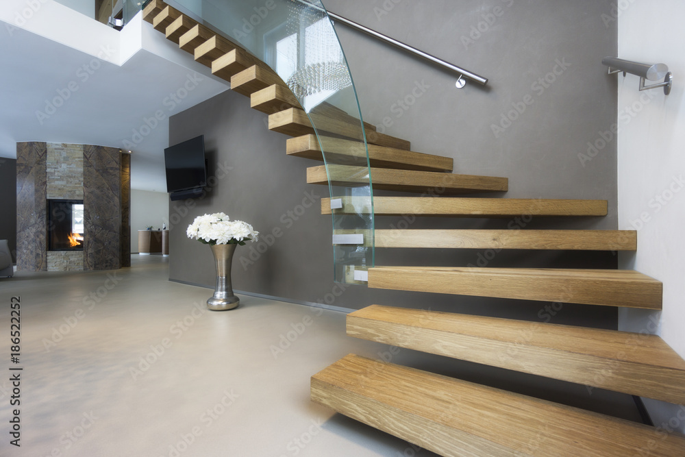 Fototapety, obrazy: elegant wood and glass staircase in luxury home