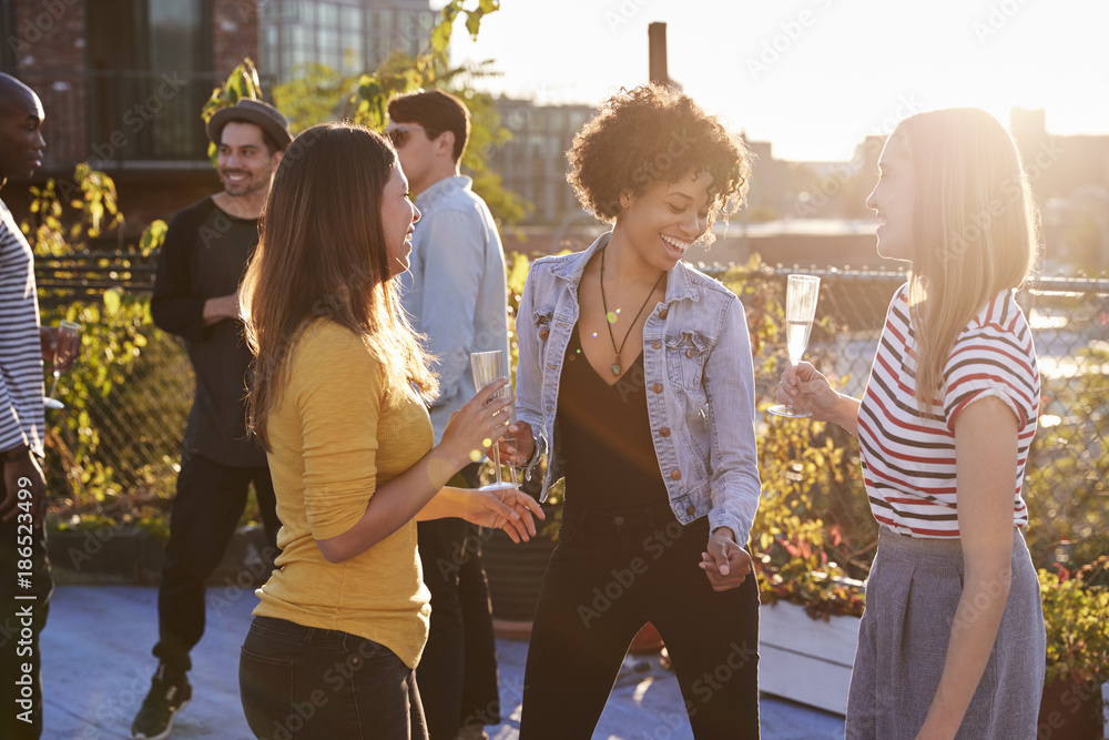 Fototapety, obrazy: Female friends dancing and drinking at a rooftop party
