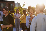 Fototapeta Nowy Jork - Happy friends at a rooftop party backlit by sunlight