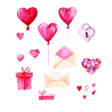 Watercolor St Valentines Day Set. Romantic Pink Hearts, Gift Box, Envelope. For Card, Design, Print Or Background