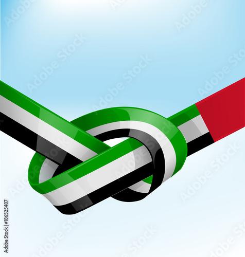 Poster  united arab emirates ribbon flag on bue sky background