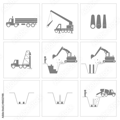 Wall Murals F1 Method statement of construction pile driving and foundation work icons, Vector, Illustration
