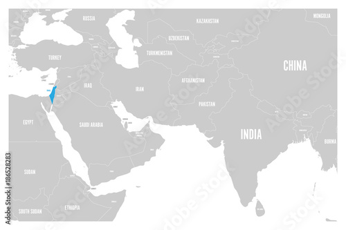 Israel blue marked in political map of South Asia and Middle ... on world map mediterranean sea, world map madagascar, world map west bank, world map cuba, world map jordan, world map tunisia, world map persian gulf, world map france, world map iraq, world map lebanon, world map hungary, world map rwanda, world map switzerland, world map vietnam, world map turkey, world map india, world map kazakhstan, world map mongolia, world map china, world map finland,