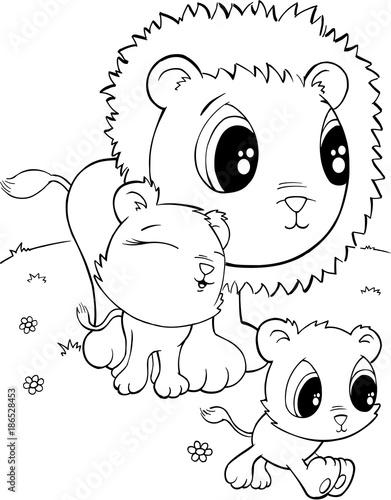 Papiers peints Cartoon draw Cute Lions Vector Illustration Art