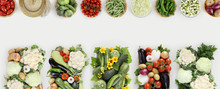 Vegetables Top View On Kitchen White Table, Web Banner Copy Space Template