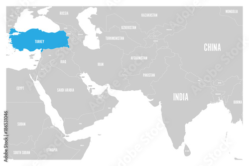 Turkey blue marked in political map of South Asia and Middle East ...