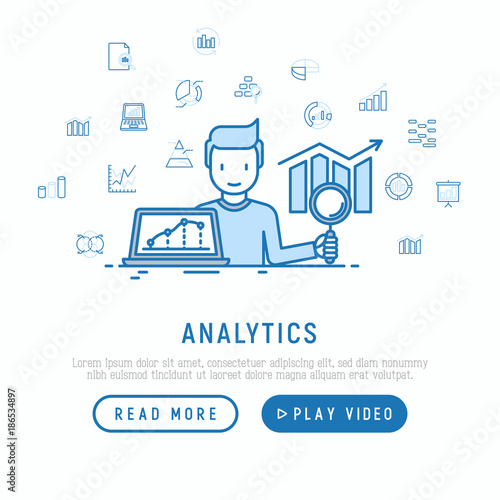 Analyst collecting and analyzing data concept with thin line icons: diagram, chart, statistics, pyramid Canvas Print