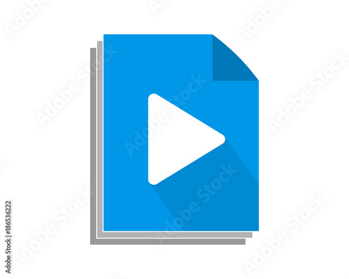 blue paper play icon audio start record image vector buy this