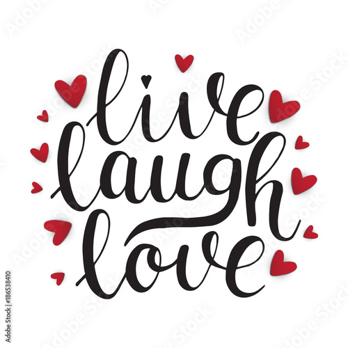 live, laugh, love. Happy valentine card with lettering Canvas Print