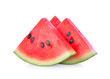 canvas print picture - closeup of some pieces of refreshing watermelon on a white background