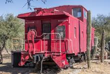 Rear Of Railroad Caboose In Arizona Desert