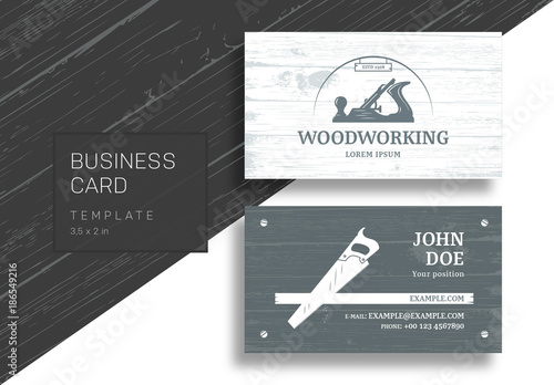 Business card with carpentry tools and wood grain background buy business card with carpentry tools and wood grain background fbccfo Choice Image