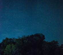 Pha Hua Sing At Night, The Name Of Lion Face Rock At Doi Samer Dao National Park In Thailand