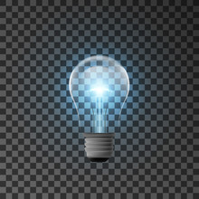 Realistic Bulb With Shining Light. Illustration Isolated On Transparent Background. Graphic Concept For Your Design