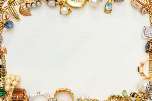 fototapeta na szkło Fashion jewelry frame on white background