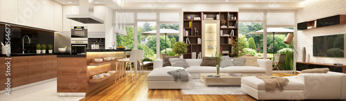 Obraz Large kitchen and living room with terrace - fototapety do salonu