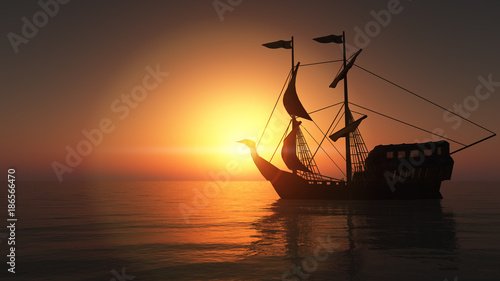 Foto auf Leinwand Schiff old ship in sea sunset