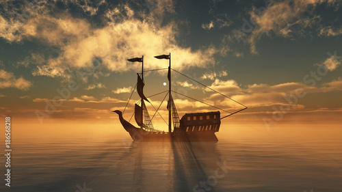 Foto auf AluDibond Schiff old ship in sea sunset