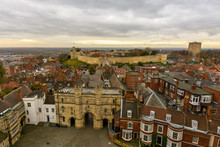 Lincoln East View, England - View From The Cathedral Tower, With Lincoln Castle And Dramatic Cloudscape