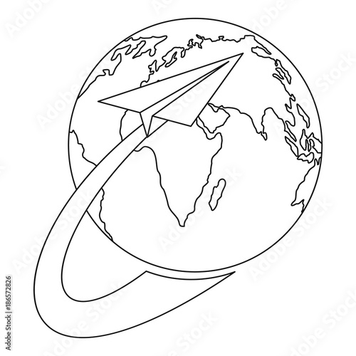 Papiers peints Cartoon draw Around the earth icon. Outline illustration of around the earth vector icon for web