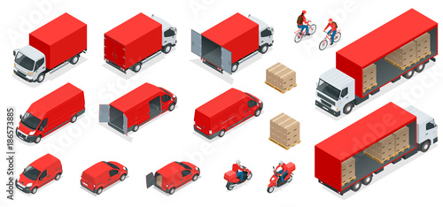 Isometric Logistics icons set of different transportation distribution vehicles, delivery elements. Cargo transport isolated on white background.