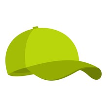 Green Baseball Cap Icon. Flat ...