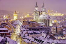 Winter In Prague - City Panorama With Tyn Cathedral And Clock Tower