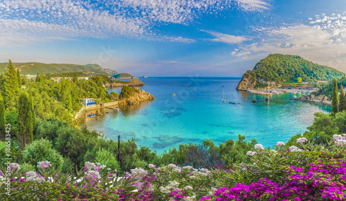 Panoramic view of Paleokastritsa lagoon bay on Corfu island, Greece