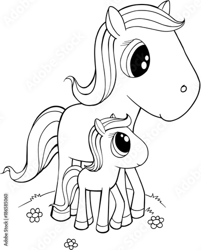 Cute Horses Vector Illustration Art