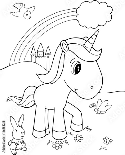 Tuinposter Cartoon draw Cute Unicorn Vector Illustration Art