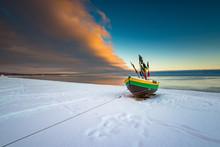 Fishing Boat At Snow Covered B...
