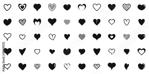 Heart shapes icons set Canvas-taulu