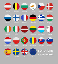 Rounded European Union Flags B...