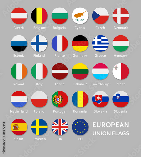 Fotografía Rounded European Union flags button set with names of each country