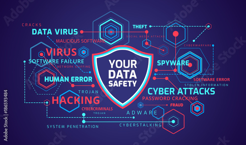 Fotografía  Cyber security concept infographics - technology vector background
