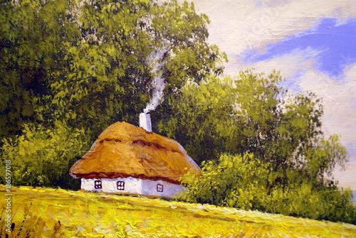 Photo  Rural oil paintings landscape, canvas. Fine art