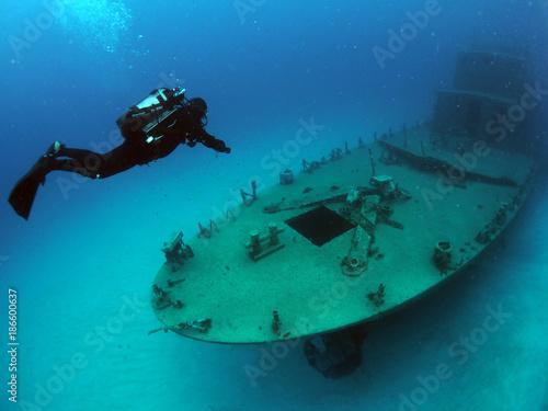 Foto op Canvas Schipbreuk Scuba Diving Malta Gozo Comino - - P31 Wreck, Comino