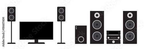 Fotografía  Flat black home cinema and stereo system set