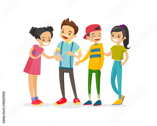 Group Of 6 Cartoon Characters : Caucasian white group of teenage friends looking at