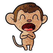 Yawning Cartoon Monkey