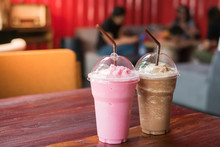 Pink Milk And Cocoa On Table I...