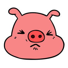 Cartoon Angry Pig Face